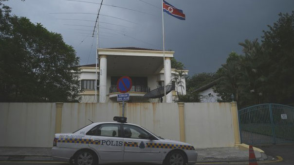 A Malaysian police car is parked outside the North Korean embassy in Kuala Lumpur, March 12, 2017