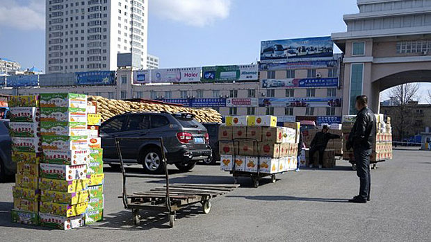 Goods bound for North Korea are shown at a customs checkpoint near the border in Dandong, China, in a file photo.