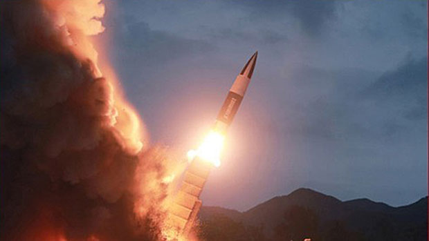 The test launch of a North Korean short-range missile is shown in a photo released Aug. 11, 2019 by North Korea's Korean Central News Agency.