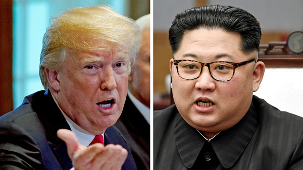 A combination photo shows U.S. President Donald Trump (L) in Washington, May 17, 2018, and North Korean leader Kim Jong Un (R) in Panmunjom,  South Korea, April 27, 2018.
