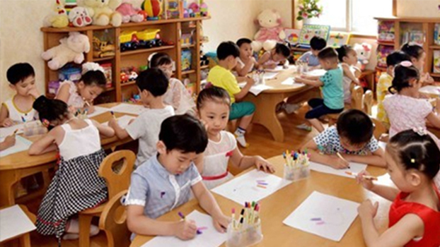 Children attend class at Kyungsang Kindergarten in Pyongyang, North Korea.