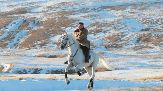 This undated picture released by Korean Central News Agency on October 16, 2019 shows North Korean leader Kim Jong Un riding a white horse on Baekdu mountain.