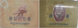 The reverses of newly issued North Korean national ID cards for citizens living in Pyongyang (left) and outside the capital (right) are shown in this file photo.