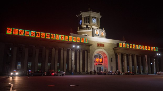 A photo taken on May 4, 2018 shows a general view of the central railway station in Pyongyang.