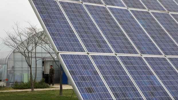 A North Korean man stands near solar panels at the Central Tree Nursery in Pyongyang, North Korea, in a file photo.