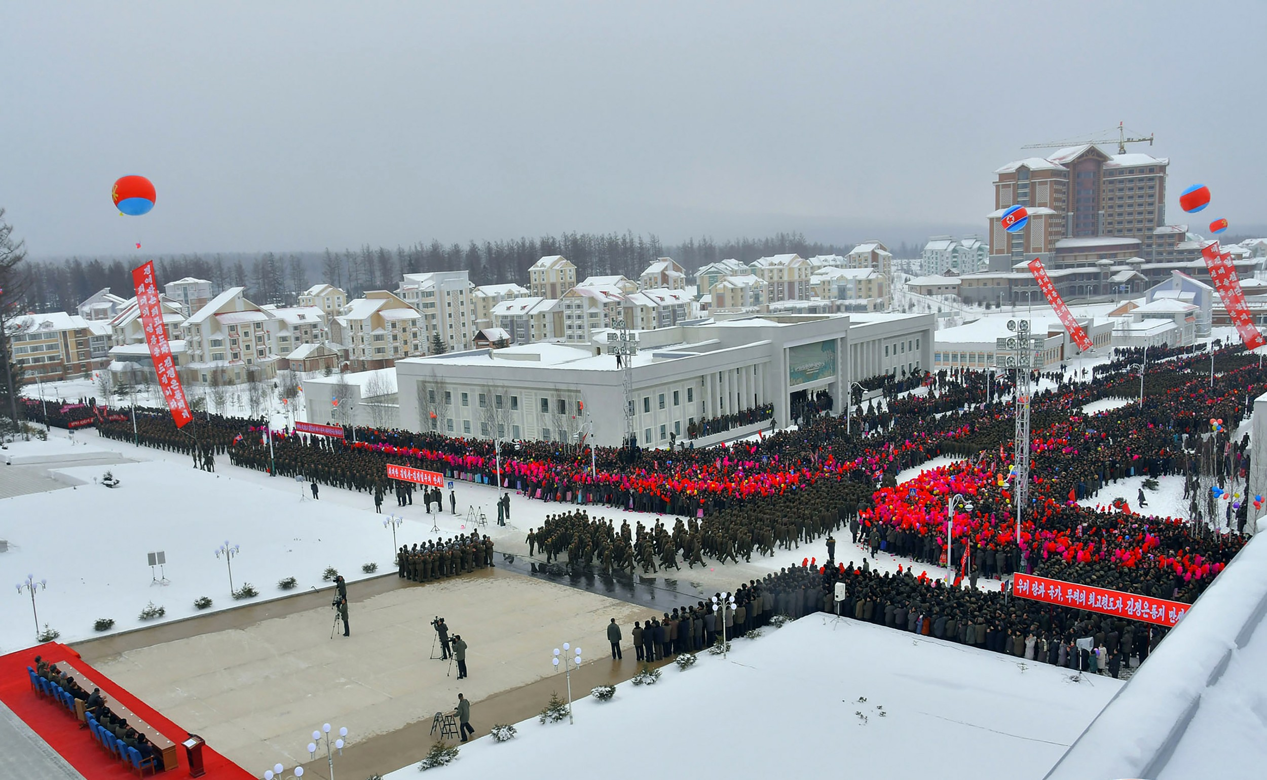 The ceremony to mark the completion of the construction of the township of Samjiyon County was a 'number one event' as Kim Jong Un was attending. Number one events typically involve much pomp and circumstance.