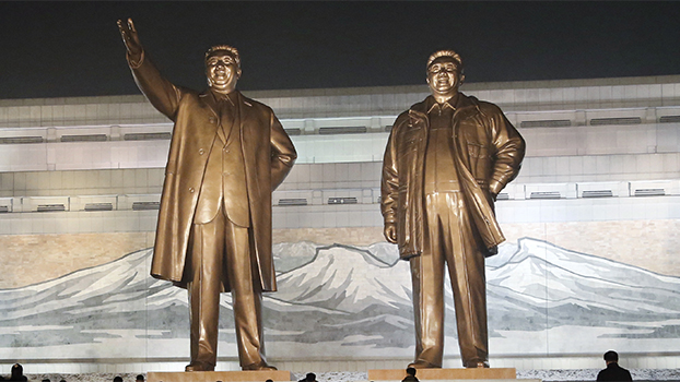 Bronze statues of late North Korean leaders Kim Il Sung and Kim Jong Il at Mansu Hill Grand Monument in Pyongyang, in a file photo
