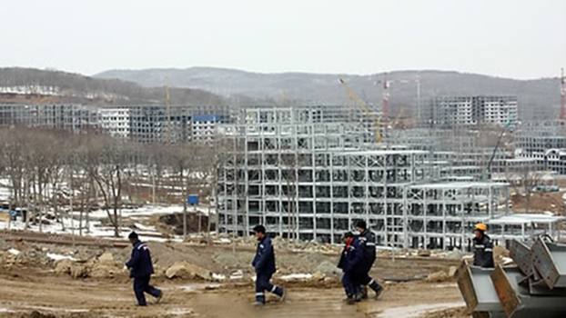 North Korean workers at a construction site in Vladivostok, Russia, in an undated photo.