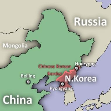 A map showing China-North Korea border.