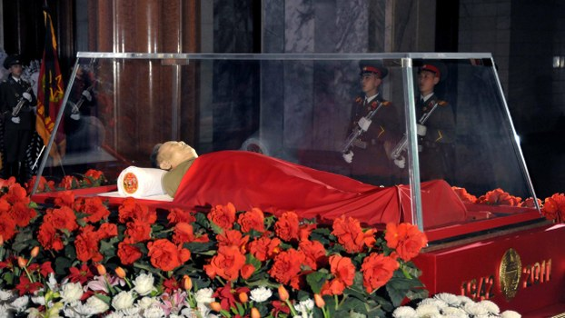 This handout picture taken by North Korea's official Korean Central News Agency (KCNA) on December 24, 2011 shows the body of late North Korean leader Kim Jong-Il in state at the Kumsusan Memorial Palace.