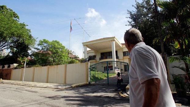 A man walks near the North Korean Embassy in Kuala Lumpur in a file photo.