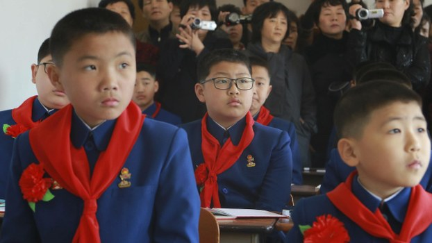 Students attend their first lesson at the Pyongyang No. 1 Middle School in Pyongyang as new school year begins in North Korea Monday, April 1, 2019.
