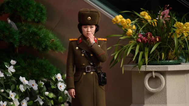 A Korean People's Army (KPA) soldier stands at the entrance to a 'Kimjongilia' flower exhibition celebrating the late North Korean leader Kim Jong Il, in Pyongyang on February 14, 2019.