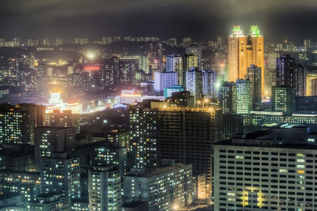 Buildings in North Korea's capital Pyongyang are shown at night in a file photo.