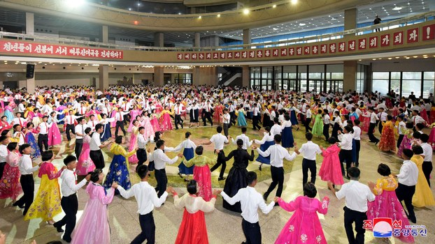Students dance during a youth festival celebration, in this undated photo released by North Korea's Korean Central News Agency (KCNA) on August 29, 2018.