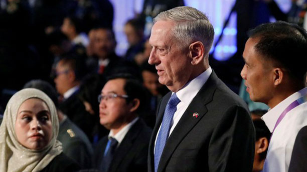 U.S. Defense Secretary James Mattis (center) attends the ASEAN Defense Ministers meeting at Clark Field in Pampanga province, north of Manila, Oct. 24, 2017.