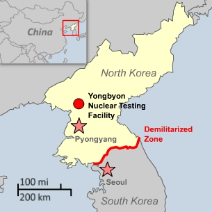 Map showing  site of newly revealed uranium enrichment plant in North Korea.
