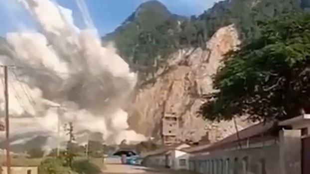 An explosion is shown at a Chinese coal mine in Laos in a file photo.