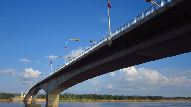 This file photo shows the Third Lao-Thai Mekong Friendship Bridge that extends from Khammouane province in Laos to Nakhon Phanom province in Thailand.