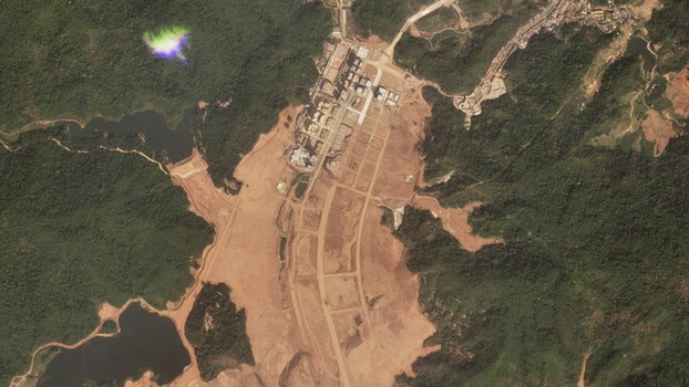 A satellite image taken Feb. 3, 2020, that shows the massive earthworks at the Boten Special Economic Zone, located near Laos' main international border checkpoint with China at Mohan, Yunnan province. The area was formally a casino and gambling enclave but it shut in 2011 because of lawlessness and has since been rebranded as a cross-border trade and tourism zone.