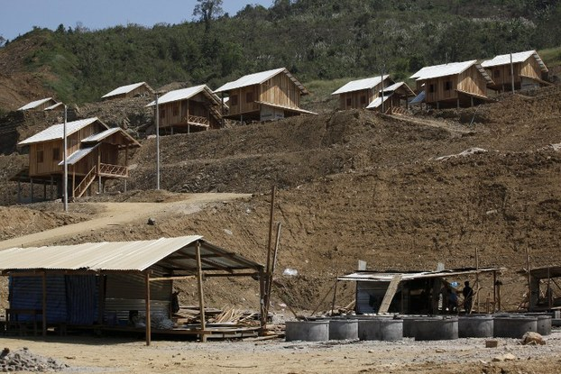 A village relocated by construction on the Xayaburi dam on the Mekong River in northern Laos, Jan. 2014.