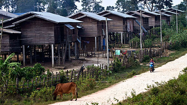 The Nakai Tai resettlement area for Lao villagers displaced by the Nam Theun 2 dam is shown in a file photo.