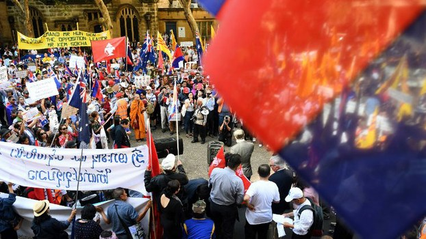Protesters from several Southeast Asian countries take part in a demonstration during the ASEAN (Association of Southeast Asian Nations)-Australia Special Summit in Sydney, March 17, 2018.