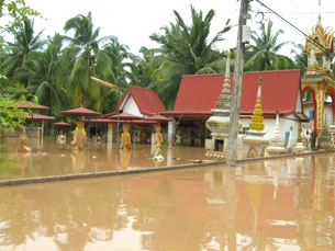 In the Lao capital Vientiane, the Somhong Temple grounds are entirely flooded.