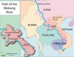 Four people die in Laos and river towns in Cambodia and Vietnam are threatened as the waters swell downstream. Graphic: RFA