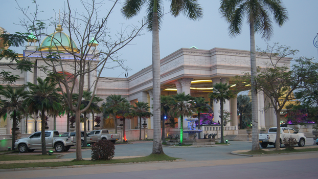 The entrance to a casino in the Golden Triangle SEZ in Laos is shown in a 2019 photo.