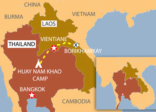 The route used to repatriate the Hmong to Laos. Credit: RFA