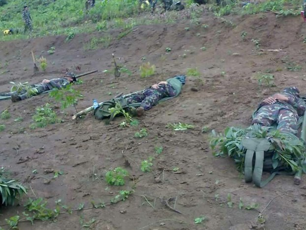 Bodies of three Lao soldiers shot dead in a clash with an anti-government group in Xaysomboun Province around Nov. 23-24.
