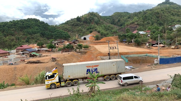 Construction of the Laos-China railway continues in Luang Namtha district, Luang Namtha province, Laos in May, 2019.