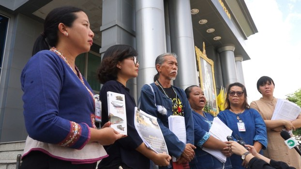 Members of the Network of Thai People in Eight Mekong Provinces submitted evidence of the impact of Laos' Xayaburi dam to the Supreme Administrative Court in Thailand, Feb. 14, 2019.