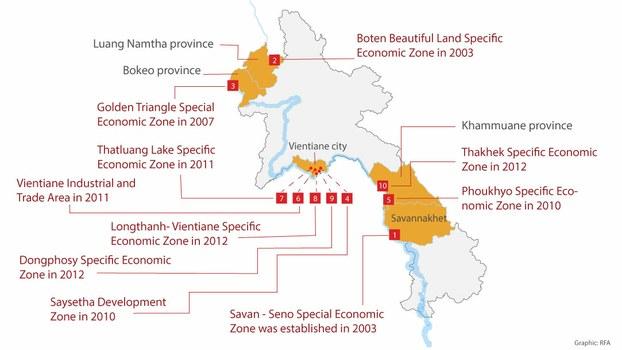 A map details the 10 special economic zones Laos has established since 2003.