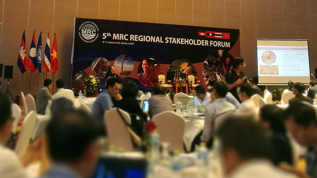 Stakeholders attend the Mekong River Commission's fifth regional forum on hydropower dam projects in the Lao capital Vientiane, Sept. 20, 2018.