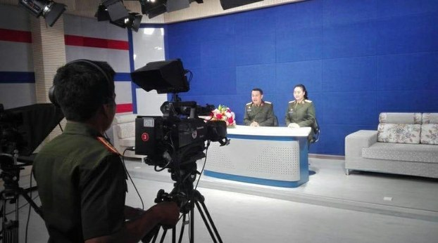 The first broadcast day of Lao Army Channel 7 is shown in an official photo, Sept. 9, 2020.