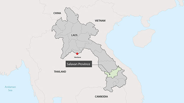 A map showing the location of Salavan province in Laos.