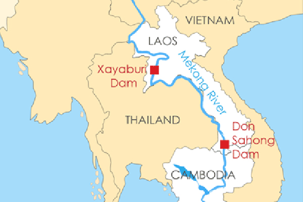 Map showing the location of the Xayaburi and Don Sahong dams