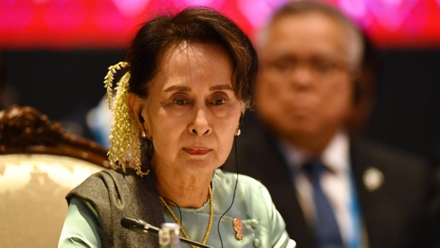 Myanmar's State Counselor Aung San Suu Kyi attends the 22nd ASEAN-Japan Summit in Bangkok, Thailand, Nov. 4, 2019.