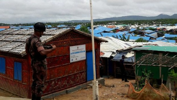 A Border Guard Bangladesh member guards the office of the refugee relief and repatriation commissioner at a Rohingya camp in Ukhia, Bangladesh, July 29, 2019.