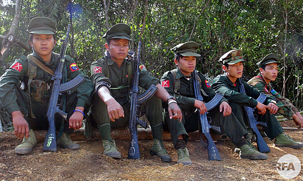 A group of Kachin Independence Army soldiers take a break in northern Myanmar's Kachin state in an undated photo.