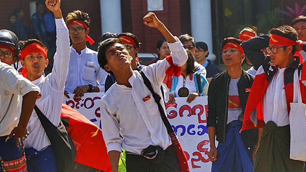 Myanmar students protest in Mandalay for an increase in education funding in a January 2018 photo.