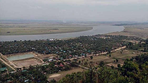 An aerial view of Minbya township in western Myanmar's Rakhine state in an undated photo.