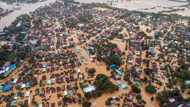 An aerial photo shows floodwaters submerging areas of Ye township in southeastern Myanmar's Mon state, Aug. 11, 2019.