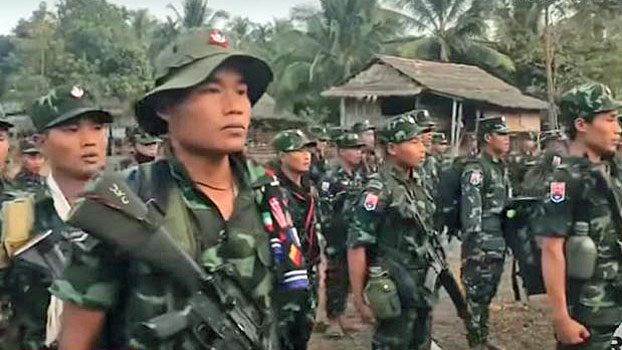 Karen National Union soldiers perform a military drill in southeastern Myanmar's Kayin state in an undated photo.