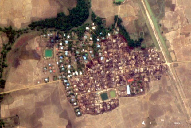 A satellite image shows about 200 homes and other buildings destroyed by fire in Letka village, Mrauk-U township, in western Myanmar's Rakhine state, May 16, 2020.