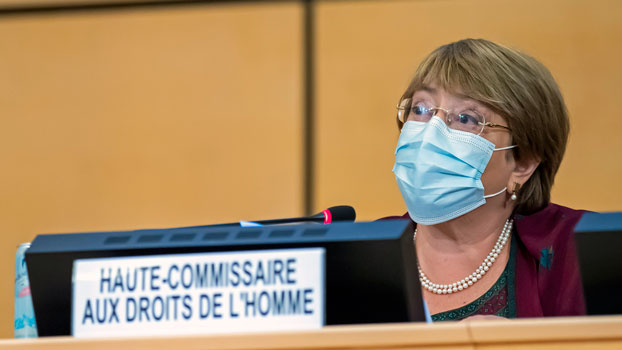 Michelle Bachelet, the UN high commissioner for human rights, speaks during the opening of the 45th session of the Human Rights Council at the UN's European headquarters in Geneva, Sept. 14, 2020.
