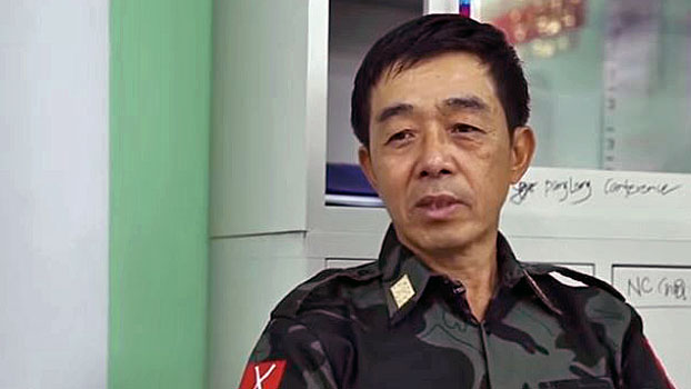 General Gwan Maw, vice chairman of the Kachin Independence Organization, discusses the controversial Myitsone Dam project during an interview at an undisclosed location in northern Myanmar's Kachin state, March 23, 2019.