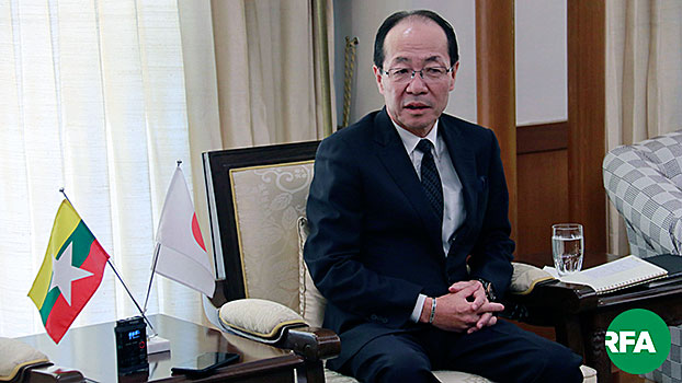 Ichiro Maruyama, Japan's ambassador to Myanmar, talks to reporters in Myanmar's commercial capital Yangon, Dec. 26, 2019.